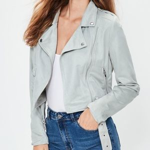 NWOT Light Blue Faux Suede Moto Jacket